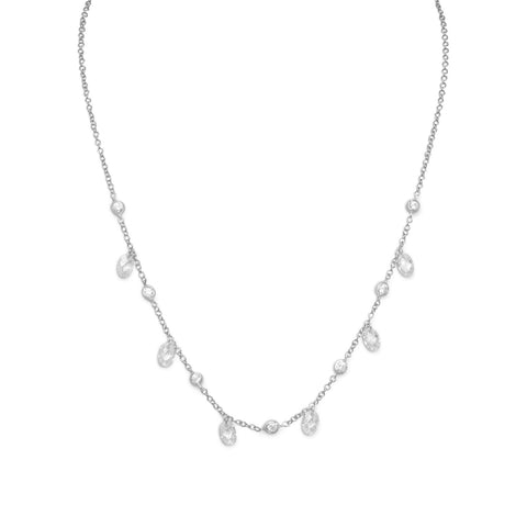 "16""+1"" Extension Rhodium Plated Bezel & Oval Faceted CZ Necklace"