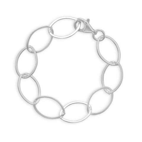 "7.5"" Oval Polished Flat Link Bracelet"