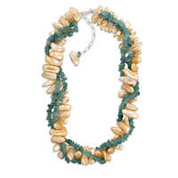 "16""+2"" Extension Necklace with Double Strand Apatite and Single Strand Cultured Freshwater Pearl"
