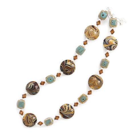 "16""+2"" Extension Ceramic and Brown Swirl Design Glass Bead Necklace with Austrian Crystals"