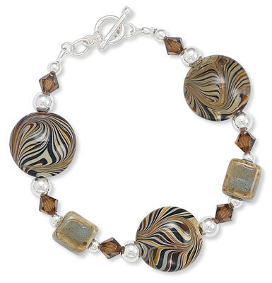 "7.5"" Ceramic and Brown Swirl Glass Bead Toggle Bracelet with Austrian Crystals"