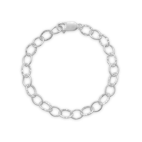 "7"" Polished and Hammered Oval Link Bracelet"