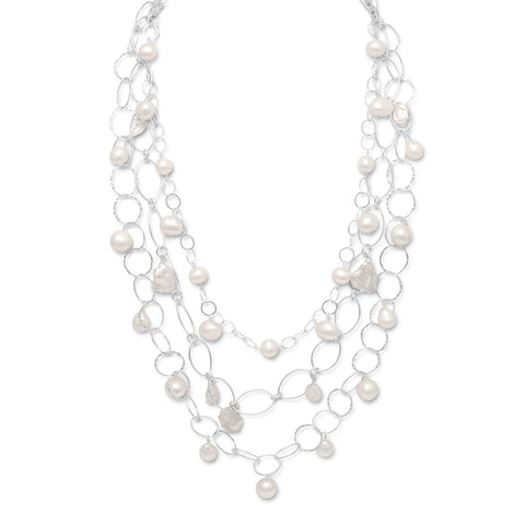 "17""+2"" Extension Triple Strand Necklace with Cultured Freshwater Pearls"