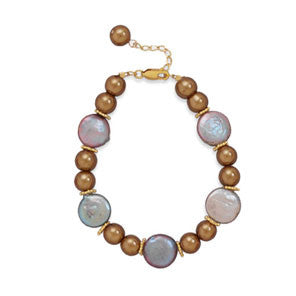 "7""+1"" Glass Pearl and Coin Pearl Bracelet"