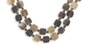 "16"" Double Strand Brown Horn and Crystal Toggle Necklace"
