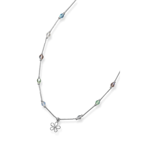 "13""+2"" Extension Necklace with Multicolor Crystals and Flower Charm"