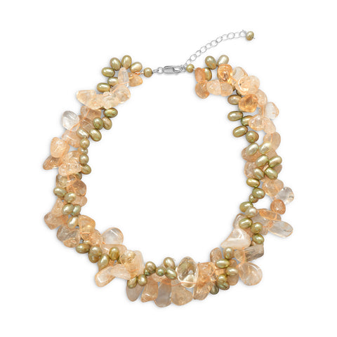 "16"" + 2"" Twist Necklace with Citrine and Green Cultured Freshwater Pearls"