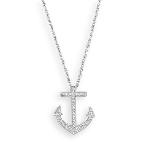 "18"" Rhodium Plated CZ Anchor Necklace"