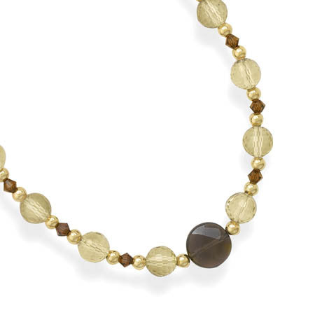 14/20 Gold Filled Necklace with Lemon and Smoky Quartz