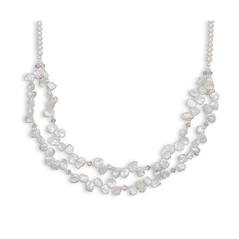 Double Strand Cultured Freshwater Keshi Pearl Necklace
