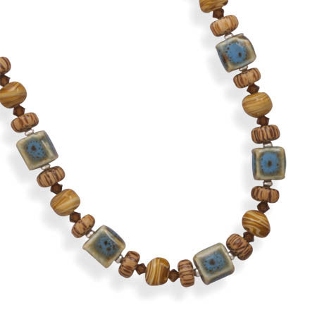 "17""+2"" Extension Glass and Wood Bead Necklace"