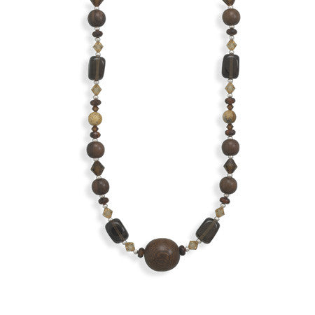 "16""+2"" Extension Multistone and Wood Bead Necklace"