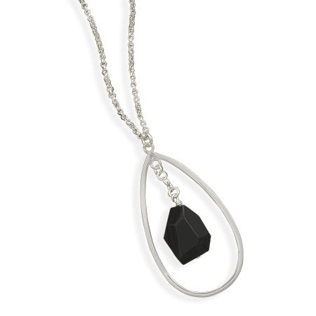 "17.5"" Black Onyx Drop Necklace"
