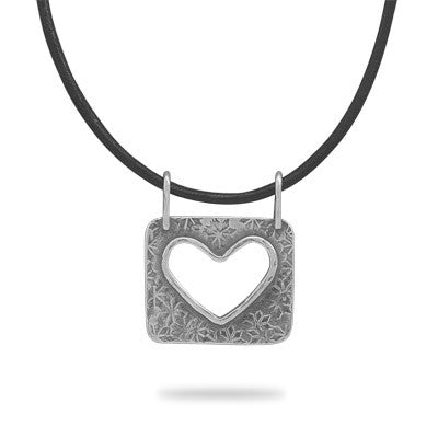 "17.5"" Leather Necklace with Heart Slide"