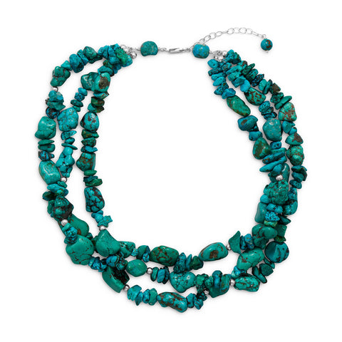 "16""+2"" Multistrand Reconstituted Turquoise Necklace"