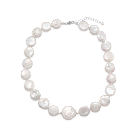 "16""+2"" Cultured Freshwater Coin Pearl Necklace"