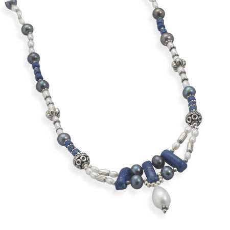"18""+1.5"" Lapis and Cultured Freshwater Pearl Necklace"