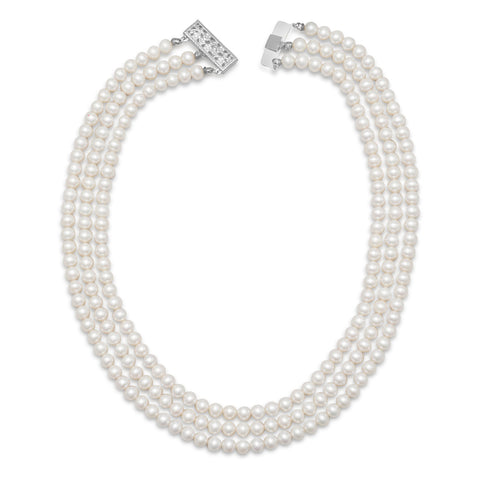 "15""-17"" Triple Strand Cultured Freshwater Pearl Necklace"