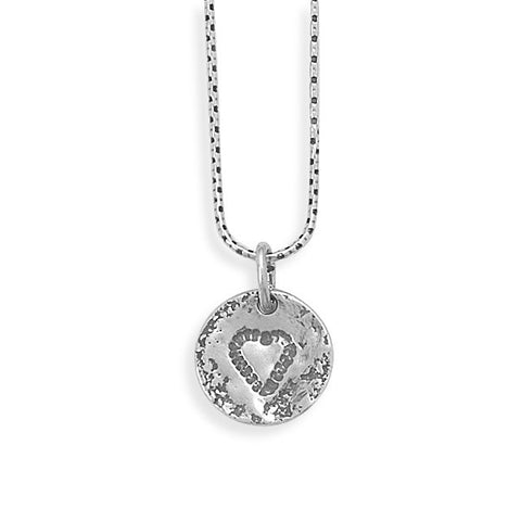 "18"" Silver Necklace with Heart Design"