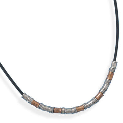 "18"" Leather Toggle Necklace with Two Tone Beads"