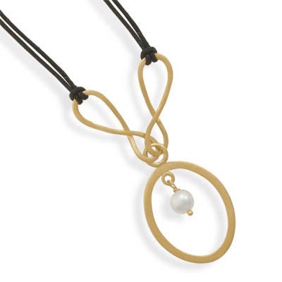 Adjustable Cord Necklace with 14 Karat Gold Plated Drop