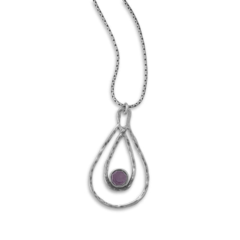 "18"" Necklace and Double Pear Shape Pendant with Amethyst"