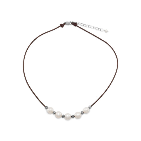 "16""+2"" Leather and Cultured Freshwater Pearl Necklace"
