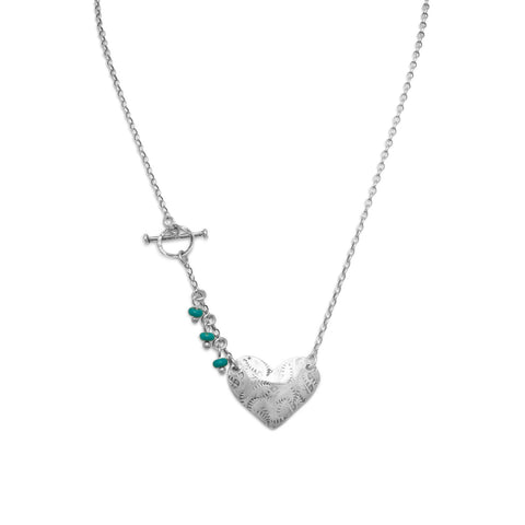 "17"" Heart Toggle Necklace with Reconstituted Turquoise Beads"