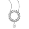 "18"" Necklace with Faceted CZ and Scroll Design Pendant"