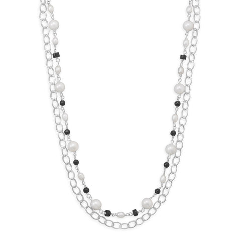 "17"" Multistrand Necklace with Onyx and Cultured Freshwater Pearls"