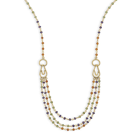 "18"" 14 Karat Gold Plated Multistone Necklace"