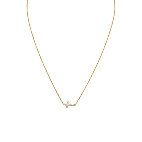 "16"" 14 Karat Gold Plated Necklace with Sideways CZ Cross"