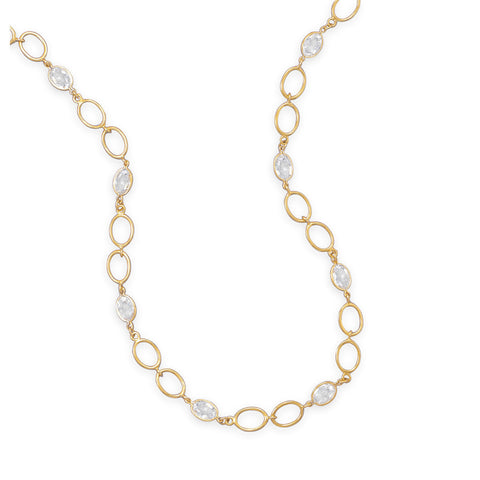 "16""+3"" 14 Karat Gold Plated CZ Necklace"