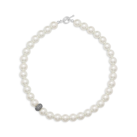 "17.5"" White Glass Pearl and Crystal Necklace"