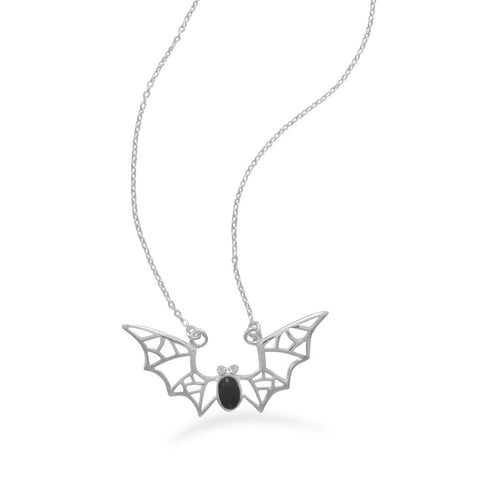 "16"" Bat Necklace with Black Onyx and Crystal"