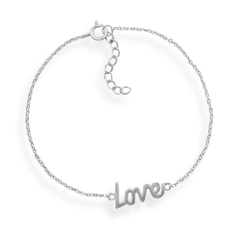 "7"" + 1"" Rhodium Plated ""Love"" Bracelet"