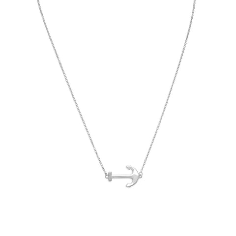 "16"" + 2"" Rhodium Plated Sideways Anchor Necklace"
