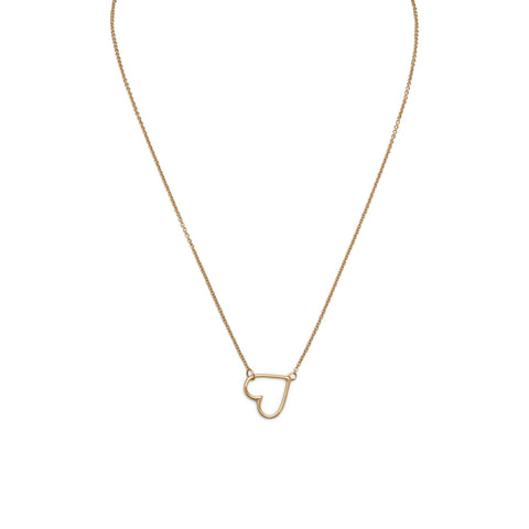 "16"" + 2"" 14 Karat Gold Plated Sideways Heart Necklace"