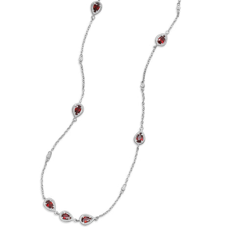 "36"" Rhodium Plated Red CZ Necklace"