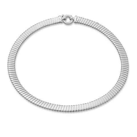 "18"" Rhodium Plated Tubogas Necklace"
