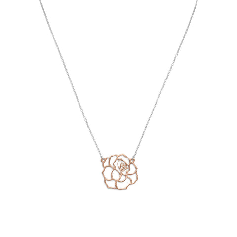 "18"" Two Tone Rose Necklace"