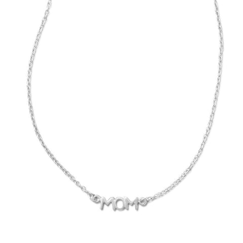 "16.5"" + 1"" Rhodium Plated ""MOM"" Necklace"
