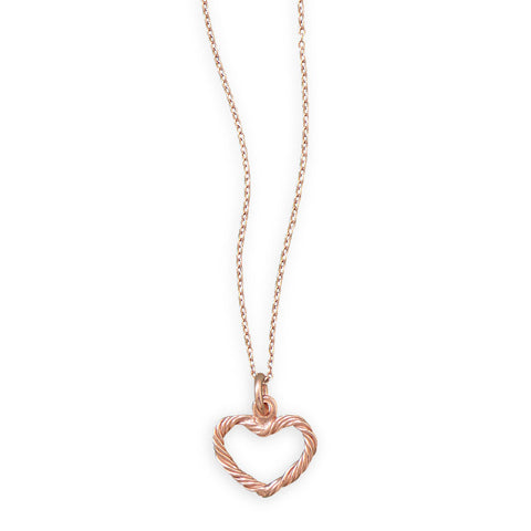 "16"" + 2"" 14 Karat Rose Gold Plated Necklace with Twist Design Heart"
