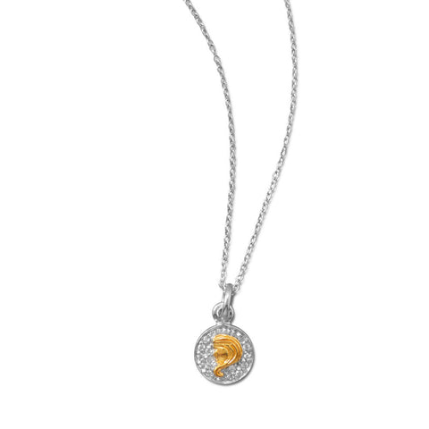Rhodium Plated Two Tone Zodiac Necklace - Virgo