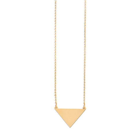 "18"" 14K Gold Plated Engravable Triangle Necklace"