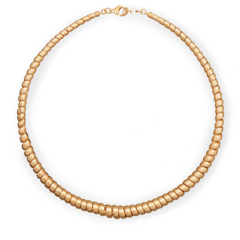 14 Karat Gold Plated Graduated Spiral Design Necklace
