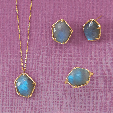 14 Karat Gold Plated Labradorite Necklace