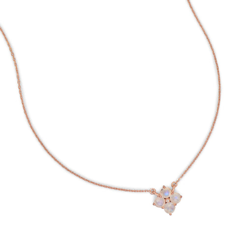 14 Karat Rose Gold Plated Moonstone Flower Necklace
