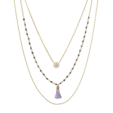 Triple Strand 14 Karat Gold Plated Necklace with Tassle and CZ