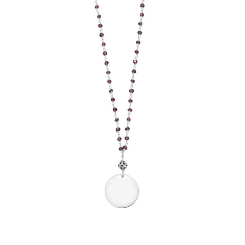 Garnet Bead Necklace with Round Engravable Tag